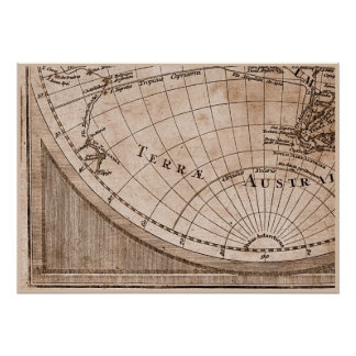 9 Panel Sepia Version de L'Isle World Map Frame 7 Poster