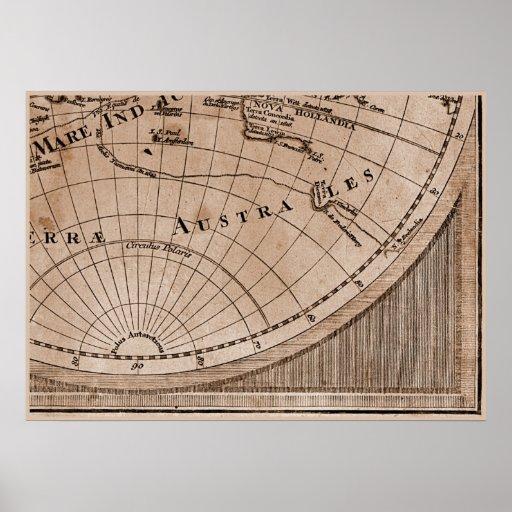 9 Panel Sepia Version de L'Isle World Map Frame 9 Poster