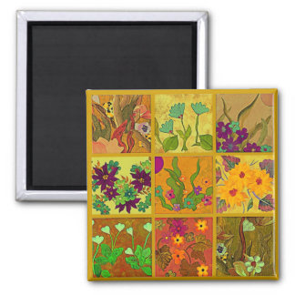 9 patch of pretty flowers magnet in hot colors