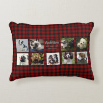 9 PET Photo Collage Bufffalo Plaid Instagram Gift Decorative Pillow