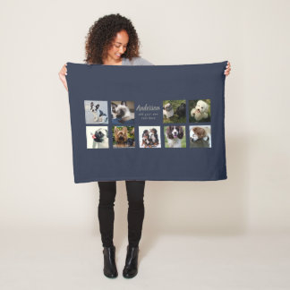 9 PET Photo Collage Instagram Name Keepsake Gift Fleece Blanket