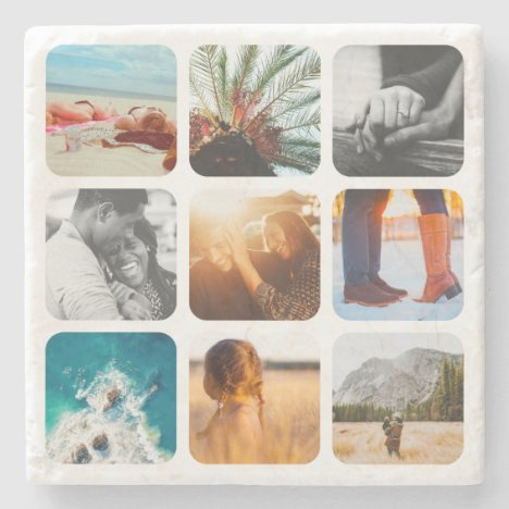 9 Photo Template Grid Rounded Framed Marble Stone Coaster