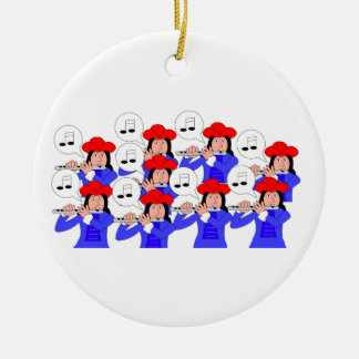 9 Pipers Piping Double-Sided Ceramic Round Christmas Ornament