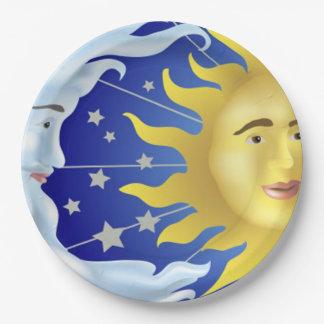 """9"""" placas de papel de encargo/Sun, luna y Plato De Papel De 9 Pulgadas"""
