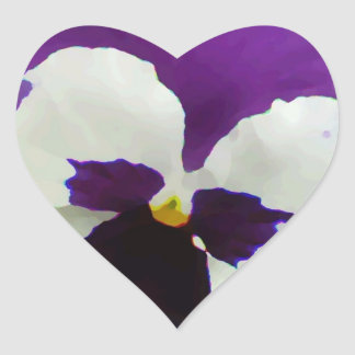 9 Purple White Painted Pansy Heart Sticker
