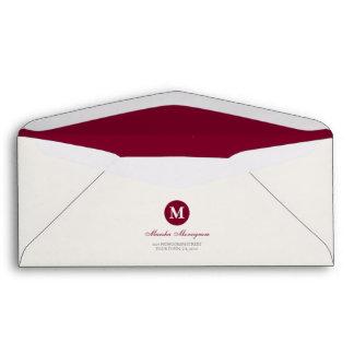 #9 - Red & Cream Monogram (Red inside) Envelopes