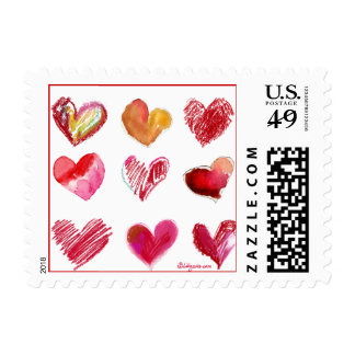 9 Red Hearts Small Postage Stamp