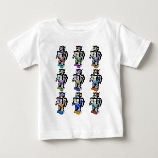 9 robots coloreados playera de bebé