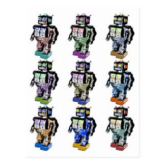 9 Robots Coloured Post Card
