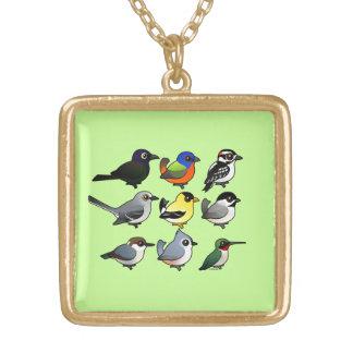 9 Southeast USA Backyard Birds Gold Plated Necklace
