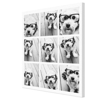 9 Square Photo Collage - Black and White Canvas Print