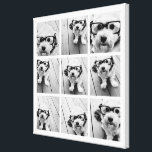"9 Square Photo Collage - Black and White Canvas Print<br><div class=""desc"">Black and White Design - Use your photos without frames on this one! Add your favorite pictures and snapshots to this strip for a fun memory keeper. An artistic way to display your best photo sharing pics.</div>"