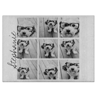 9 Square Photo Collage - Black and White Cutting Boards