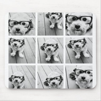 9 Square Photo Collage - Black and White Mouse Pad