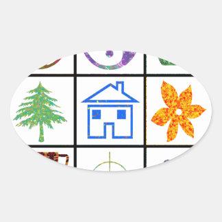 9 SYMBOLS make KIDS motivation  conversation story Oval Stickers