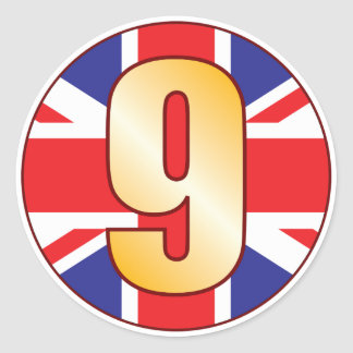 9 UK Gold Classic Round Sticker
