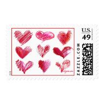 9 Valentine Hearts Postage