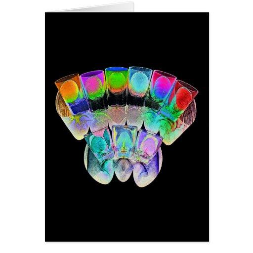 9 vasos de medida coloreados del cóctel - estilo 4 tarjeta