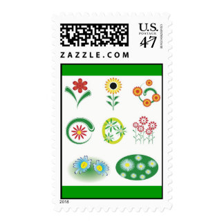 9 vector flowers postage