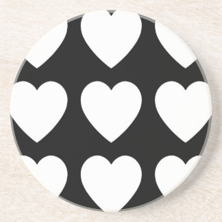9 White on Black Hearts Drink Coaster