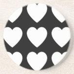 9 White on Black Hearts Drink Coaster
