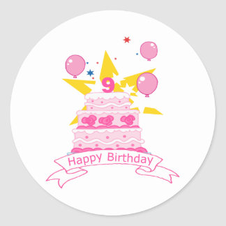 9 Year Old Birthday Cake Classic Round Sticker