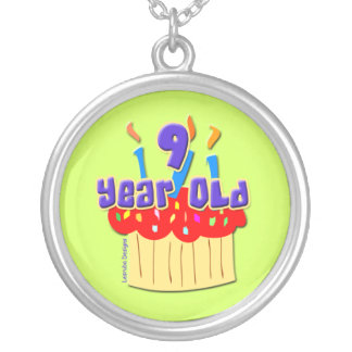 9 Year Old Birthday Round Pendant Necklace