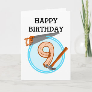 9 Year Old Boy Builder Tools Birthday Design Card