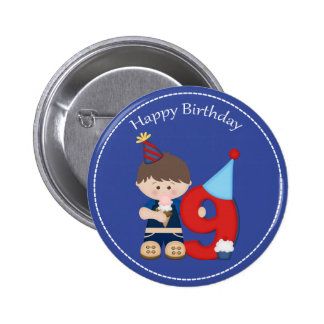 9 year old boys Happy Birthday Button