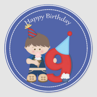 9 year old boys Happy Birthday Sticker