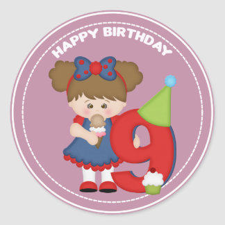 9 year old girl Birthday Sticker