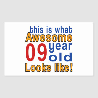 9 year old looks like rectangular sticker