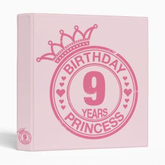 9 years - Birthday Princess - pink Binder