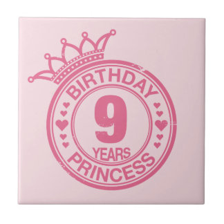 9 years - Birthday Princess - pink Small Square Tile