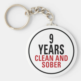9 Years Clean and Sober Keychain