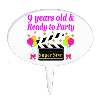 9 YEARS OLD AND READY TO PARTY MOVIE STAR DESIGN CAKE TOPPER