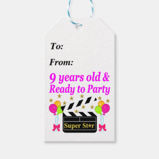 9 YEARS OLD AND READY TO PARTY MOVIE STAR DESIGN GIFT TAGS