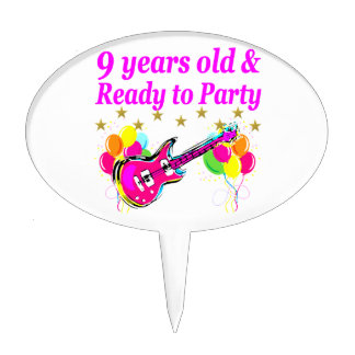 9 YEARS OLD AND READY TO PARTY ROCK STAR DESIGN CAKE TOPPER