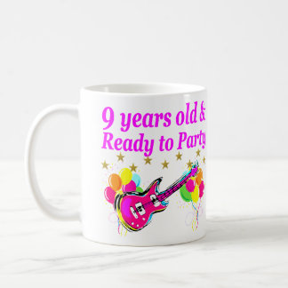 9 YEARS OLD AND READY TO PARTY ROCK STAR DESIGN COFFEE MUG