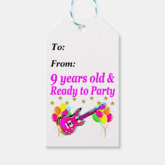 9 YEARS OLD AND READY TO PARTY ROCK STAR DESIGN GIFT TAGS