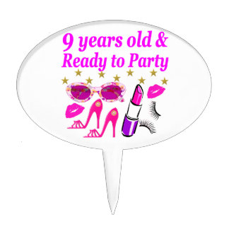 9 YRS OLD AND READ Y TO PARTY LITTLE DIVA DESIGN CAKE TOPPER