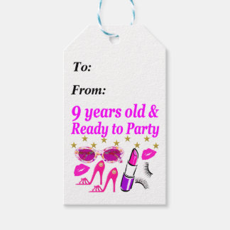 9 YRS OLD AND READ Y TO PARTY LITTLE DIVA DESIGN GIFT TAGS