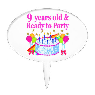 9 YRS OLD AND READY TO PARTY BIRTHDAY CAKE DESIGN CAKE TOPPER
