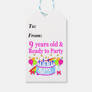 9 YRS OLD AND READY TO PARTY BIRTHDAY CAKE DESIGN GIFT TAGS