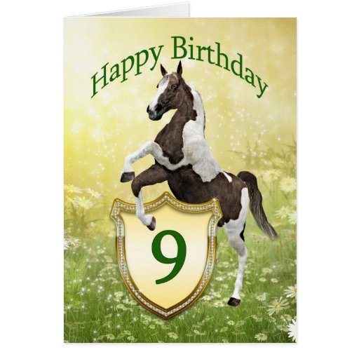 9na tarjeta de cumpleaños con un caballo que se