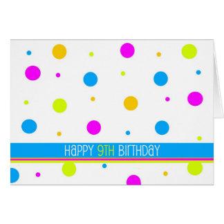 9na tarjeta de cumpleaños del lunar colorido