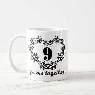 9no Aniversario 9 años junto del corazón de taza d