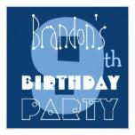 9no azul del cumpleaños del niño moderno conocido comunicado personalizado