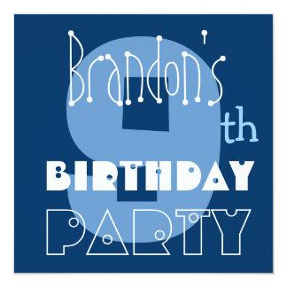 """9no azul del cumpleaños del niño moderno conocido invitación 5.25"""" x 5.25"""""""