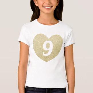 9no Corazón del brillo del chica del cumpleaños Playera
